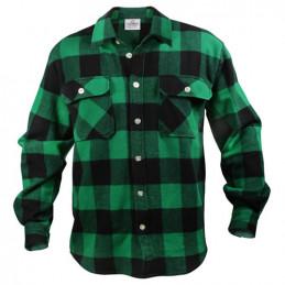 Košile dřevorubecká FLANNEL kostkovaná ZELENÁ