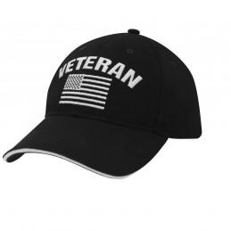 Čepice baseball US vlajka VETERAN ČERNÁ