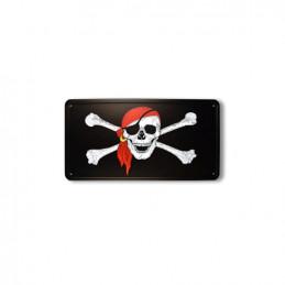 Cedule plechová pirátská lebka s šátkem