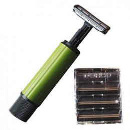 Strojek holící skládací 1 + 4 náhradní žiletky
