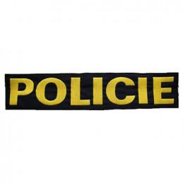 Nášivka POLICIE velká ČERNÁ se žlutou nití VELCRO