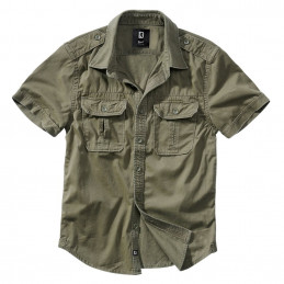 Košile styl VINTAGE krátký rukáv ZELENÁ