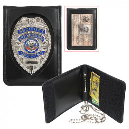 Pouzdro pro odznak, ID kartu a karty kožené ČERNÉ