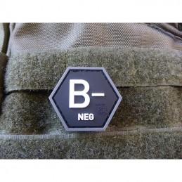 Nášivka hexagon krev B NEG plast ČERNÁ SWAT