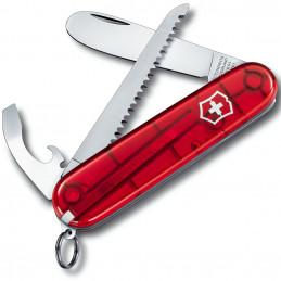 Nůž MŮJ PRVNÍ KAPESNÍ NŮŽ 84mm ČERVENÝ transparentní s pilkou