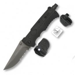 Nůž zavírací Tactical 19587 záchranář KOMBI ČERNÝ se svítilnou